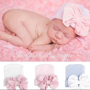 Boutique Newborn Girls Hospital Bow Hat